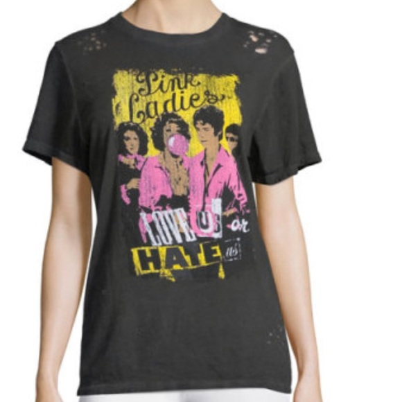 """e4feea3a6 Pink Ladies """" Love us or hate us"""" Grease Tee"""